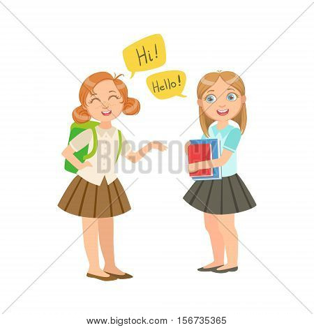 Schoolgirls Chatting In School Break Wearing School Uniforms, Part Of Scholars Studying Vector Collection. Happy Teenage Student In Uniform Having Good Time At Studies.
