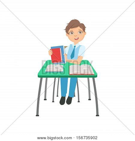 Schoolboy Sitting Behind The Desk In School Class Packing His Books Illustration, Part Of Scholars Studying Vector Collection. Happy Teenage Student In Uniform Having Good Time At Studies.