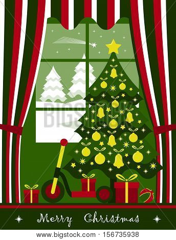 vector christmas tree with gifts at window and snowy landscape outside window
