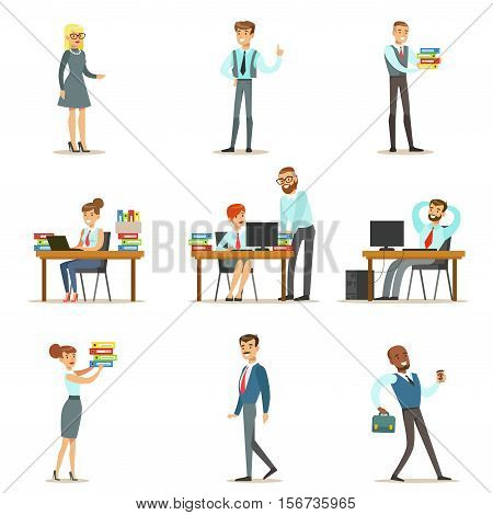 Happy Office Employees And Managers Working In The Office Space On Their Desks And Performing Other Tasks Set Of Illustrations. Modern White Collars Wearing Office Dress Code Outfits, Smiling And Communicating With Colleagues Vector Drawings.