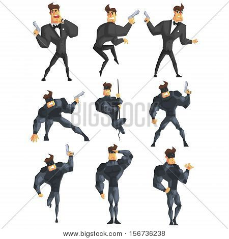 Secret Service Male Agent Undercover. Handsome Muscly Professional Man Asset In Fancy Suit And On Duty. Cartoon Hero Crime Fighter Character Colorful Vector Illustration Collection.