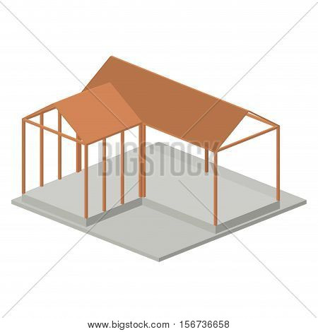 House architecture model icon. Isometric 3d structure and perspective theme. Isolated design. Vector illustration
