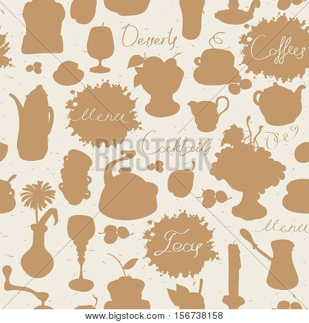 seamless texture background on the topic of tea and coffee with cutlery and kitchenware