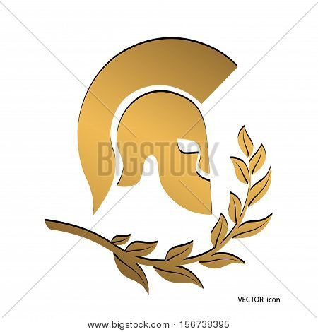 On the image presented icon gold symbol Spartan soldier