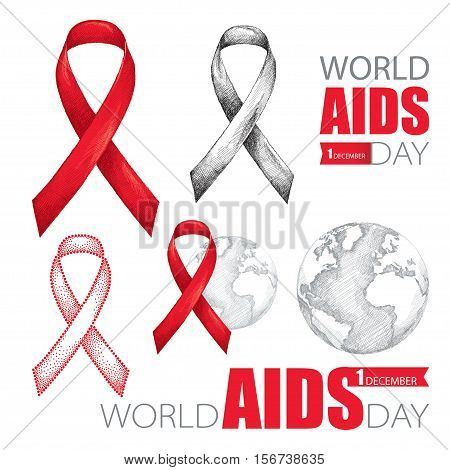 Vector design set with earth planet, red ribbon and text isolated on white background. AIDS Awareness symbols in sketch style. Collection templates for AIDS day 1 December with world map and ribbon.