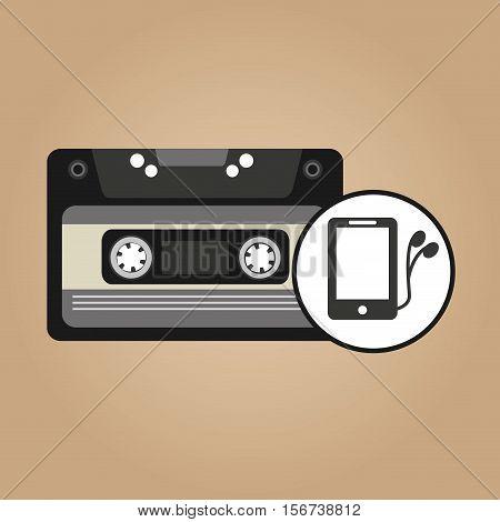 music cassette headphones vintage background desgin vector illustration eps 10