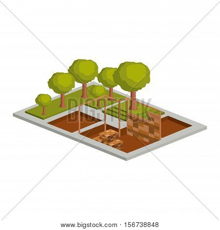 House architecture model with trees icon. Isometric 3d structure and perspective theme. Isolated design. Vector illustration
