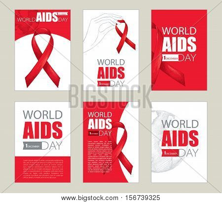 Vector design set with cards and template with red ribbon, earth planet and text. AIDS Awareness symbols in sketch style. Collection templates for AIDS day 1 December with world map and ribbons.