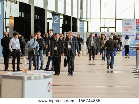 St. Petersburg, Russia - 4 October, People in the lobby expo forum, 4 October, 2016. Petersburg Gas Forum which takes place in Expoforum.