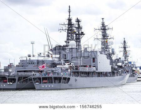 Klaipeda Lithuania August 10 2016. Large anti-submarine ship of Pacific fleet