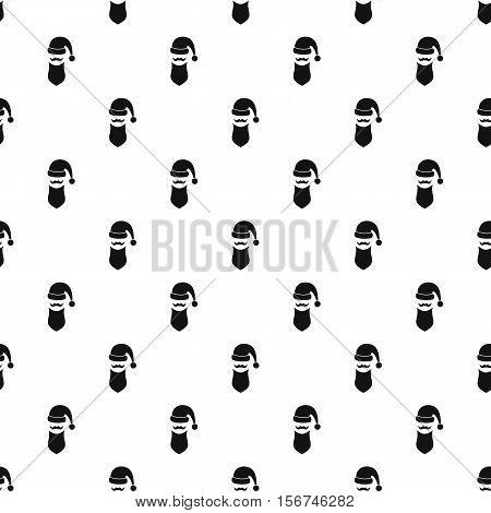 Santa hat, mustache and beard pattern. Simple illustration of Santa hat, mustache and beard vector pattern for web