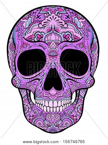 Vector colorful purple skull graphics with floral ornaments