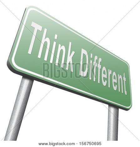 Think different and outside the box have individual thoughts, promote individuality and own will, be a non conformist. 3D illustration, isolated, on white