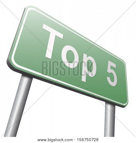 top 5 charts list pop poll result and award winners chart ranking music hits best top five quality rating prize winner road sign billboard  3D illustration, isolated, on white