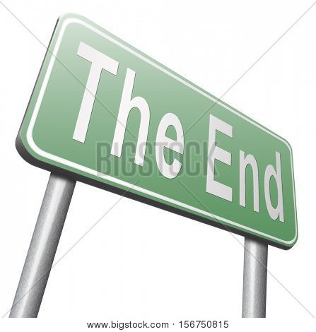 the end road sign to finish point way out 3D illustration, isolated, on white
