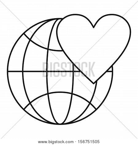 Earth world globe with heart icon. Outline illustration of globe with heart vector icon for web design