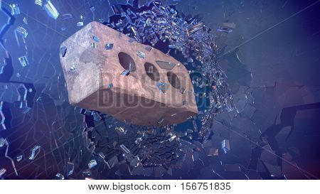 Old white Brick shatters glass. 3D render