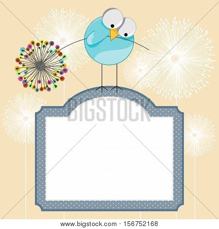 Scalable vectorial image representing a background with label and bird holding dandelion, isolated on white.