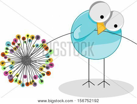 Scalable vectorial image representing a cute bird holding dandelion, isolated on white.