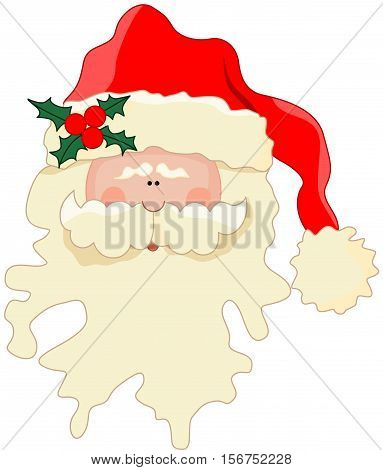 Scalable vectorial image representing a funny Santa Claus face, isolated on white.