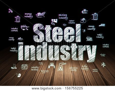 Industry concept: Glowing text Steel Industry,  Hand Drawn Industry Icons in grunge dark room with Wooden Floor, black background