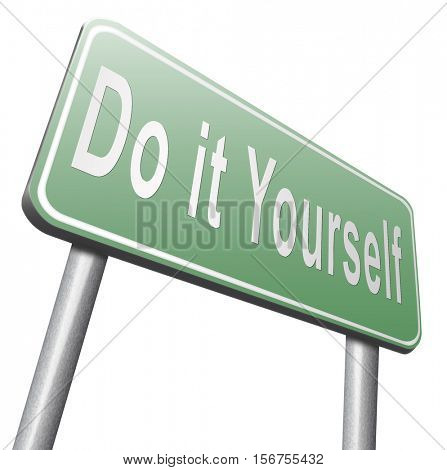 do it yourself, self development. 3D illustration, isolated, on white