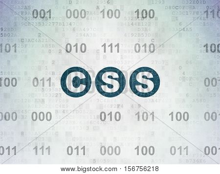 Database concept: Painted blue text Css on Digital Data Paper background with Binary Code