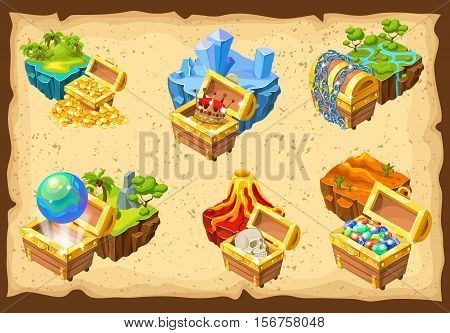 Isometric set of gaming islands with various landscapes and hidden treasures on light background isolated vector illustration