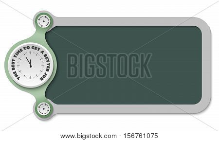 Vector frame for text with watches and the words the best time to get a better job