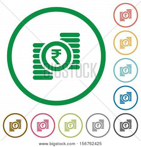 Indian Rupee coins flat color icons in round outlines