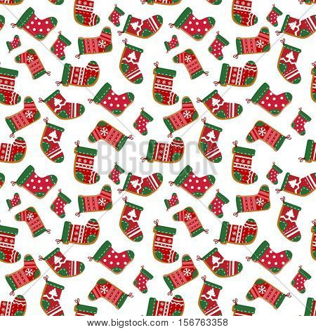 Holiday seamless background with cute decorative socks