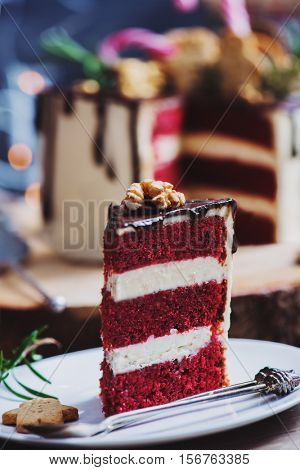 Closeup shot of a homemade red velvet cake decorated for a Christmas party
