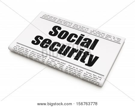 Privacy concept: newspaper headline Social Security on White background, 3D rendering