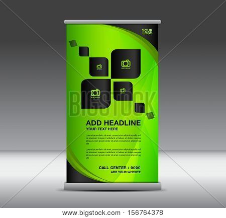 Green Roll Up Banner, banner design, roll up stand, advertisement, display Ads, x-banner and flag-banner