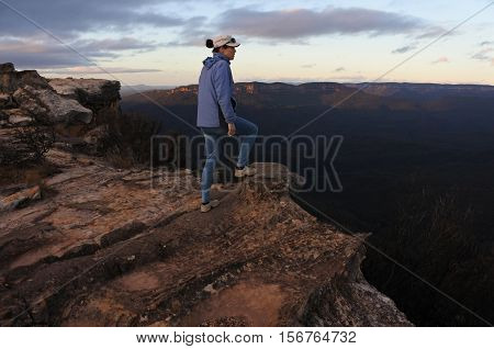 Woman Looks At The Landscape From Lincoln Rock Lookout At Sunrise Of The Grose Valley Located Within