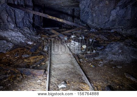 Remnant of railway in an abandoned limestone mine in Sock, Samara Region