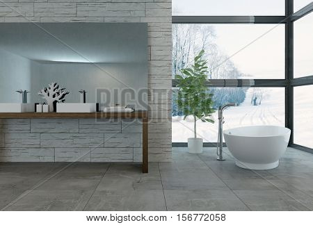3D rendering of bathtub facing large windows in luxury bathroom with wall of bright windows facing snowy landscape