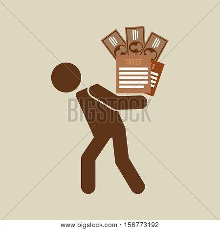 silhouette man financial crisis taxes money vector illustration eps 10