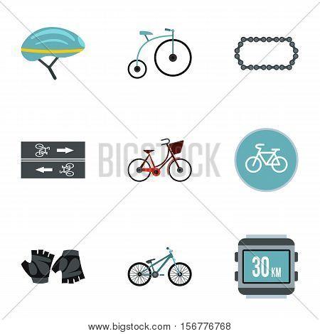 Bike icons set. Flat illustration of 9 bike vector icons for web