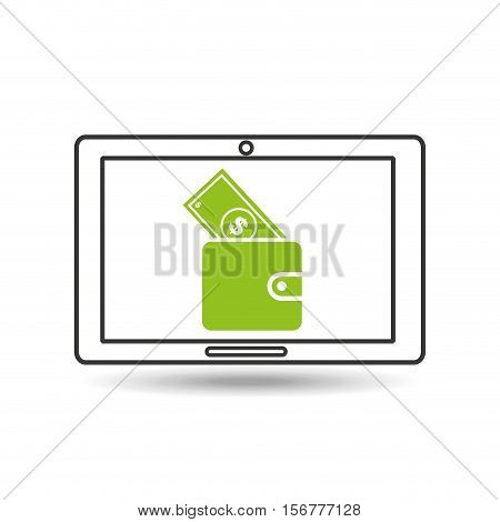 concept money tablet digital graphic vector illustration eps 10