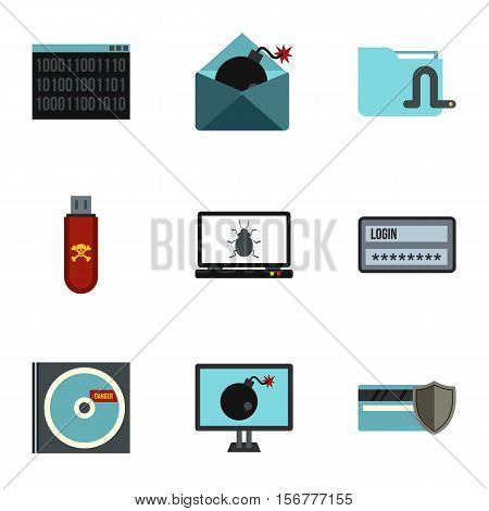 Cracking icons set. Flat illustration of 9 cracking vector icons for web