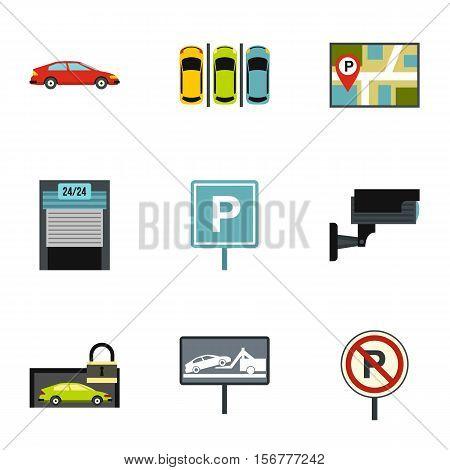 Parking transport icons set. Flat illustration of 9 parking transport vector icons for web