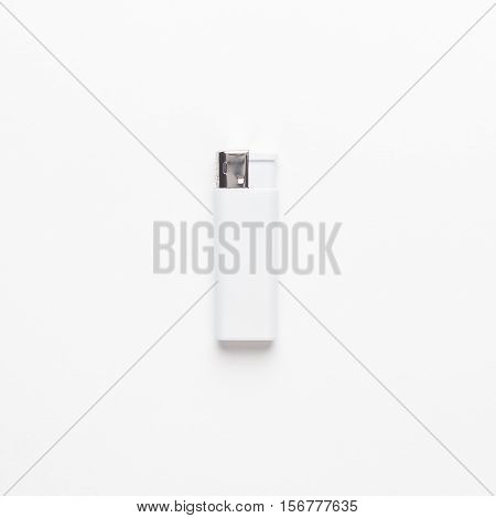 blank gas sigarette lighter on white background. not isolated. mockup design template.