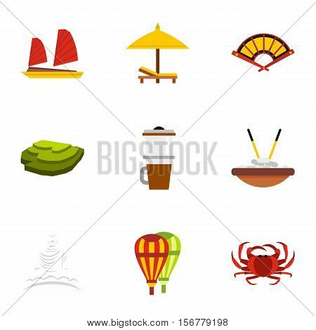 Attractions of Vietnam icons set. Flat illustration of 9 attractions of Vietnam vector icons for web