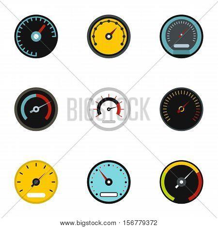 Engine speedometer icons set. Flat illustration of 9 engine speedometer vector icons for web