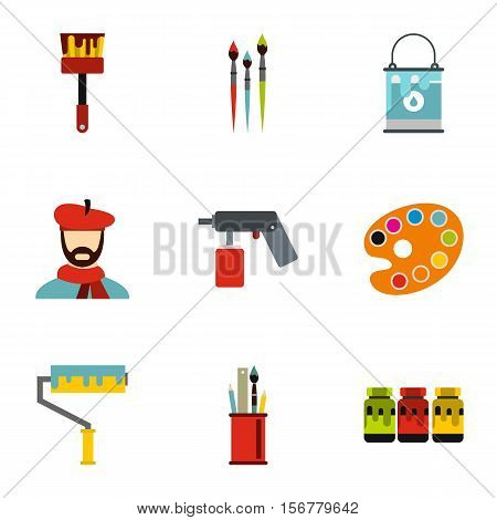 Painting icons set. Flat illustration of 9 painting vector icons for web