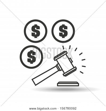 money judge gavel concept icon vector illustration eps 10