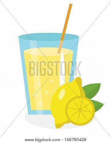 Lemon juice, lemonade, in a glass. Fresh lemonade isolated on white background. Fresh fruit and juice icon. Lemon drink, fruit compote. Lemon cocktail. Vector illustration.