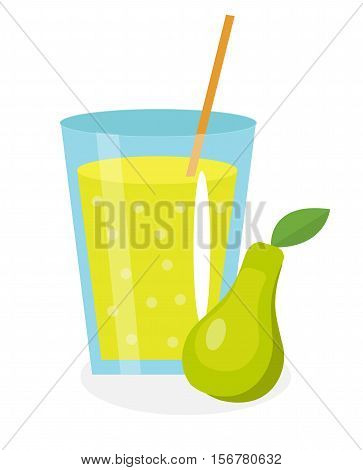 Pear juice in a glass. Fresh pear juice isolated on white background. Fresh fruit and juice icon. Duchess drink, fruit compote. Pear cocktail. Vector illustration