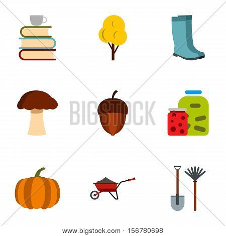 Autumn coming icons set. Flat illustration of 9 autumn coming vector icons for web